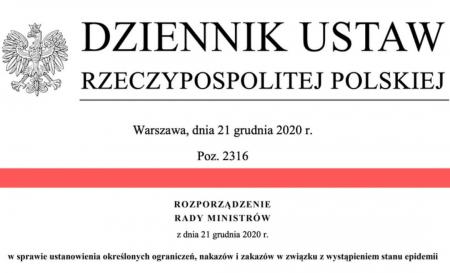 Zawieszenie zajęć do 17 stycznia 2021r.